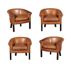 Pair of Italian Vintage Caramel Leather Club Chairs with Cushion and Nailheads