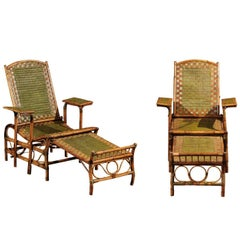 Pair of Italian Vintage Green and Brown Wicker Lounge Chairs from Milan, 1950s