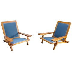 Pair of Italian Vintage Lounge Chairs in Wood
