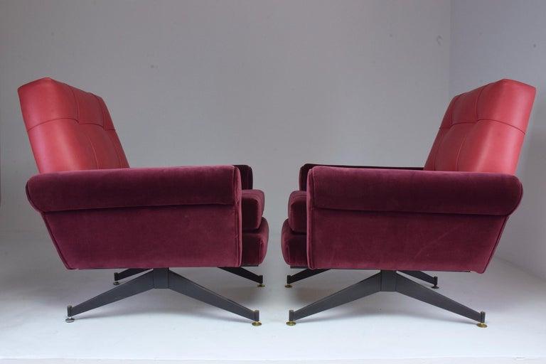 Pair of Italian Vintage Midcentury Velvet Leather Armchairs, 1950s For Sale 3