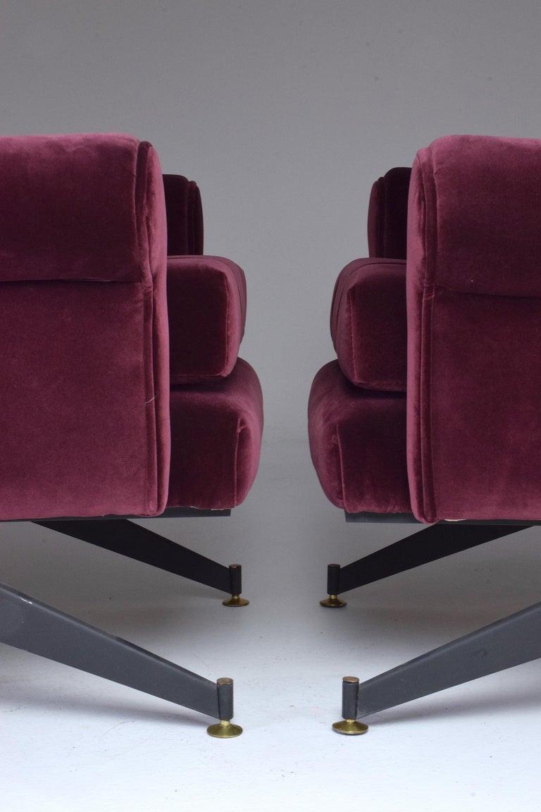Pair of Italian Vintage Midcentury Velvet Leather Armchairs, 1950s For Sale 4