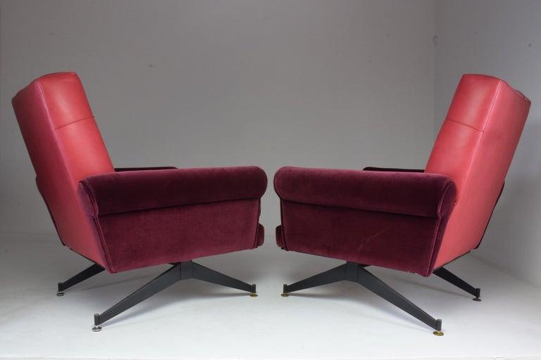Pair of Italian Vintage Midcentury Velvet Leather Armchairs, 1950s For Sale 5