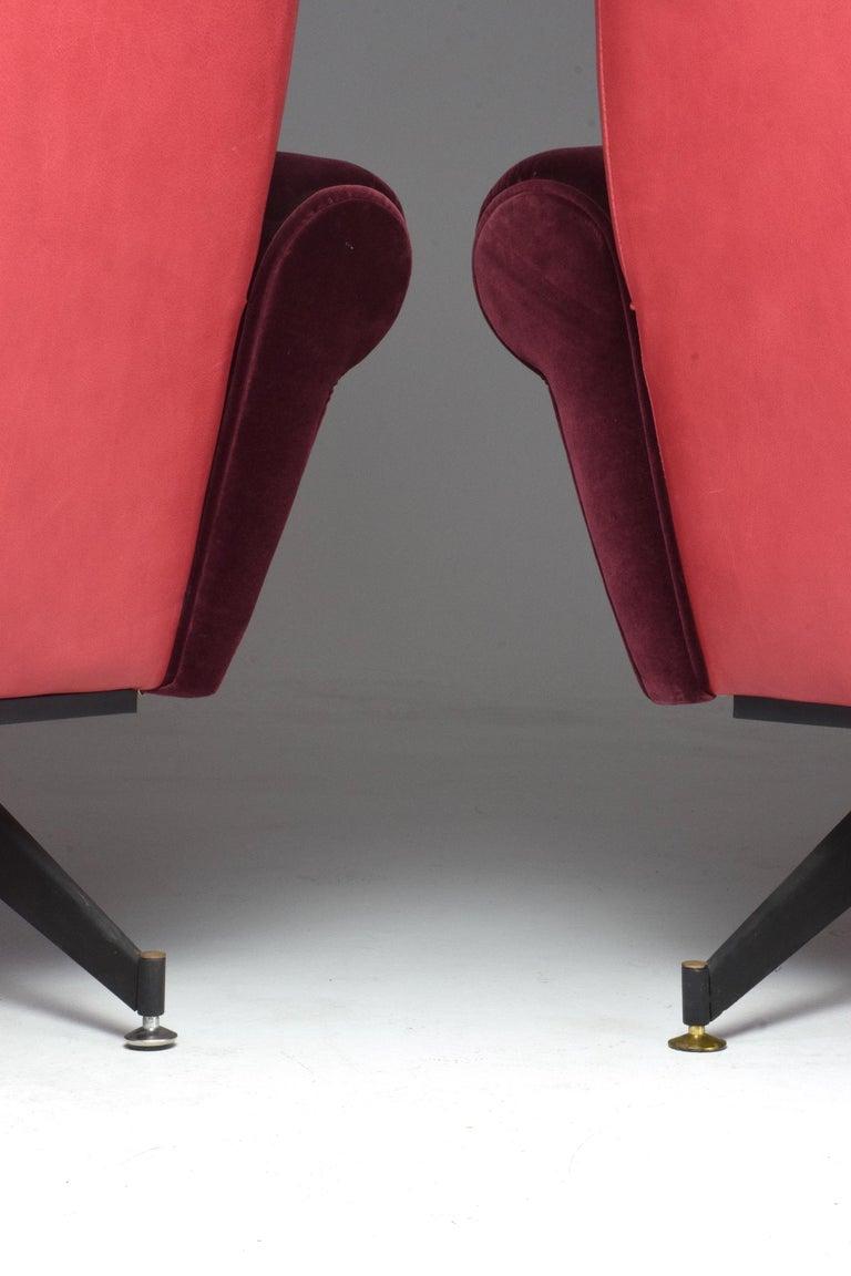 Pair of Italian Vintage Midcentury Velvet Leather Armchairs, 1950s For Sale 9