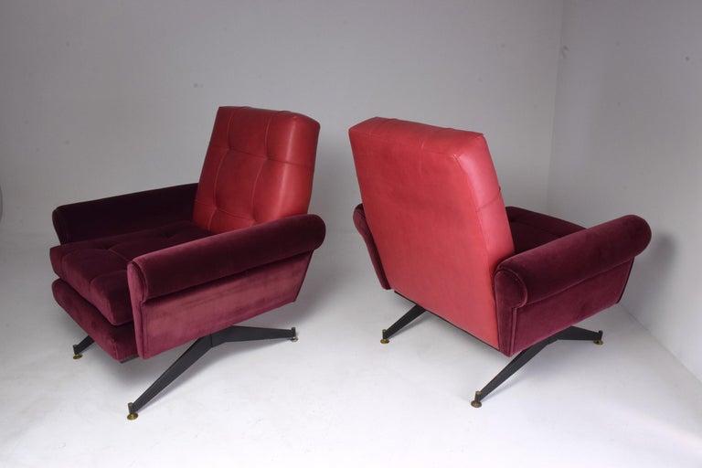 Pair of Italian Vintage Midcentury Velvet Leather Armchairs, 1950s For Sale 10