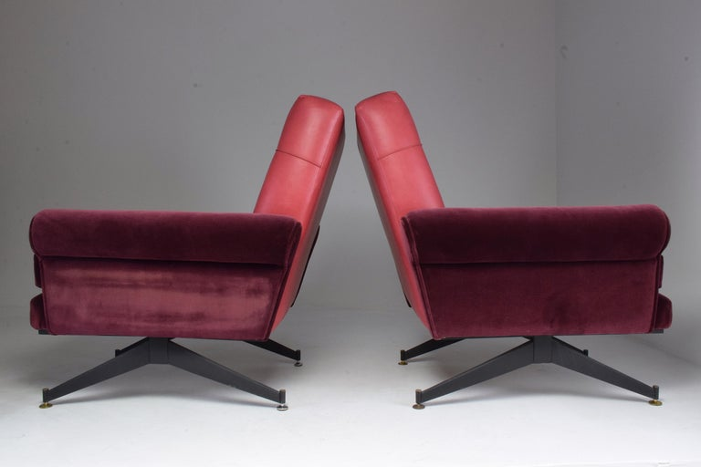 Pair of Italian Vintage Midcentury Velvet Leather Armchairs, 1950s For Sale 11