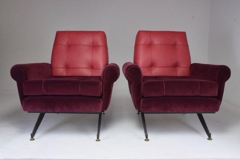 Pair of Italian Vintage Midcentury Velvet Leather Armchairs, 1950s For Sale 12