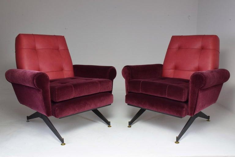 Pair of Italian Vintage Midcentury Velvet Leather Armchairs, 1950s For Sale 14