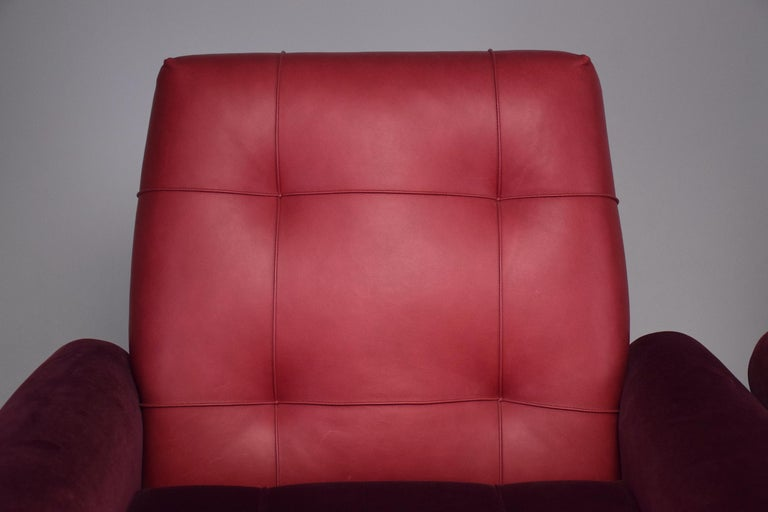 Pair of Italian Vintage Midcentury Velvet Leather Armchairs, 1950s For Sale 13