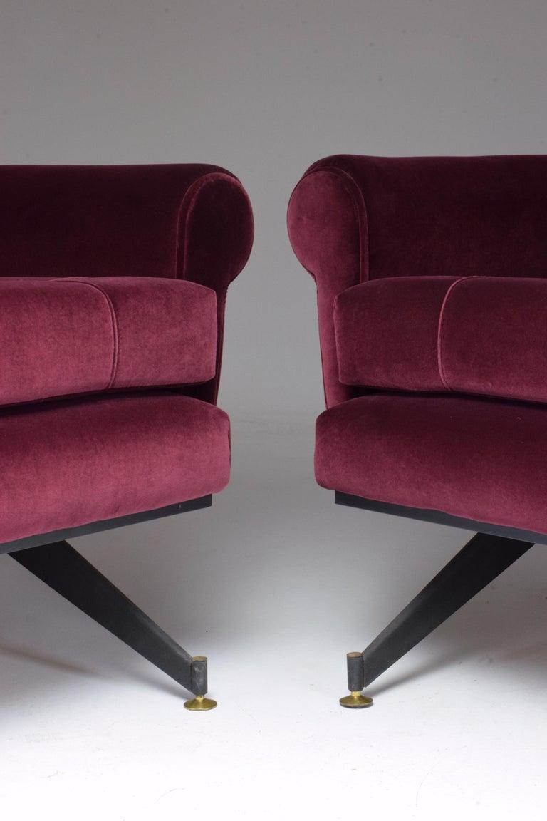 Pair of Italian Vintage Midcentury Velvet Leather Armchairs, 1950s For Sale 1