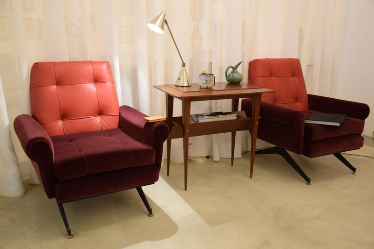 Pair of Italian Vintage Midcentury Velvet Leather Armchairs, 1950s In Good Condition For Sale In Paris, FR