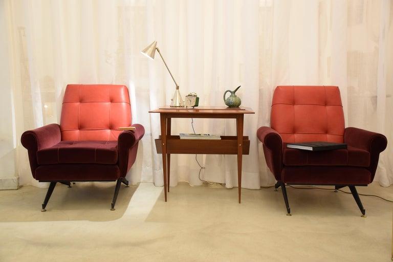 20th Century Pair of Italian Vintage Midcentury Velvet Leather Armchairs, 1950s For Sale