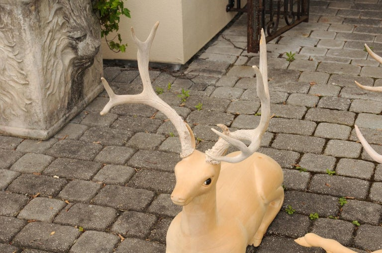 Pair of Italian Vintage Midcentury Carved Wooden Stag Sculptures with Antlers For Sale 5