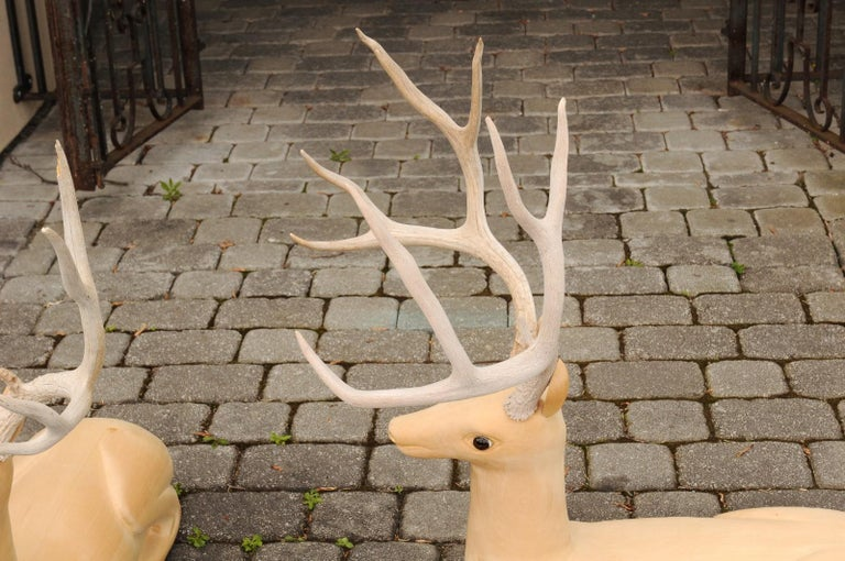 Pair of Italian Vintage Midcentury Carved Wooden Stag Sculptures with Antlers For Sale 6