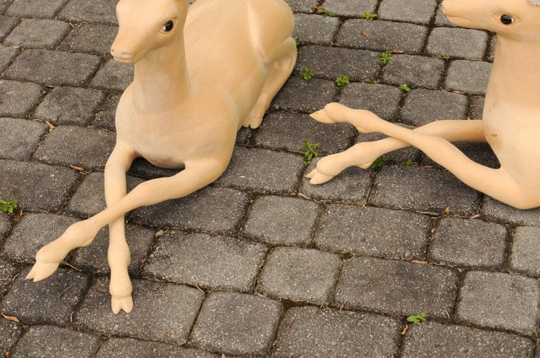Pair of Italian Vintage Midcentury Carved Wooden Stag Sculptures with Antlers For Sale 7