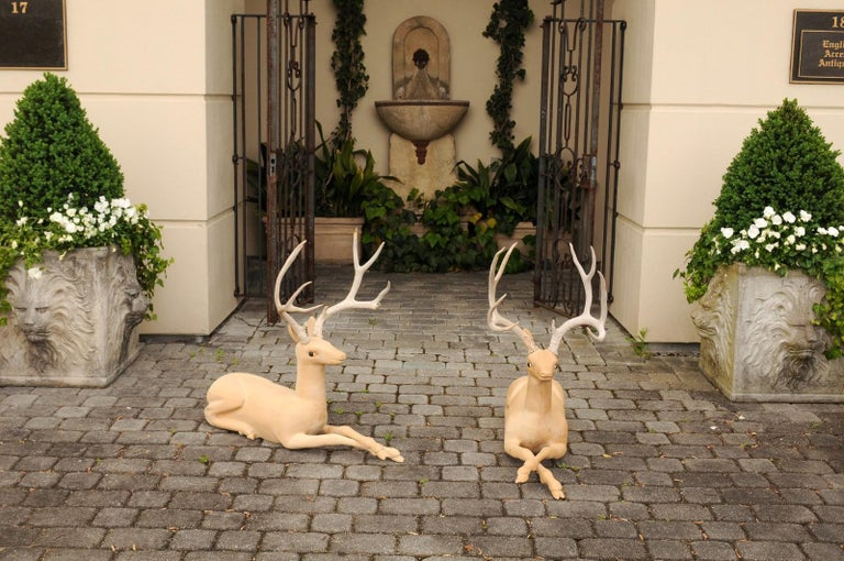 Mid-Century Modern Pair of Italian Vintage Midcentury Carved Wooden Stag Sculptures with Antlers For Sale