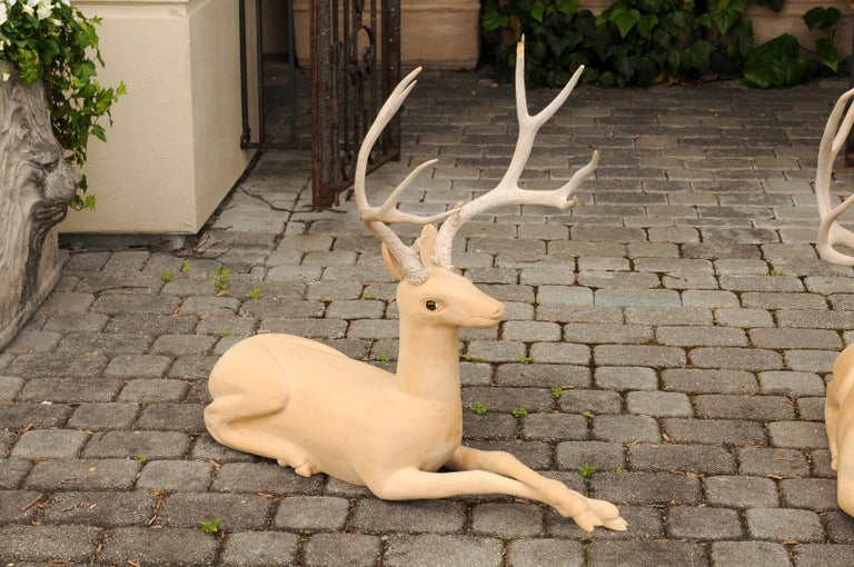 Pair of Italian Vintage Midcentury Carved Wooden Stag Sculptures with Antlers In Good Condition For Sale In Atlanta, GA