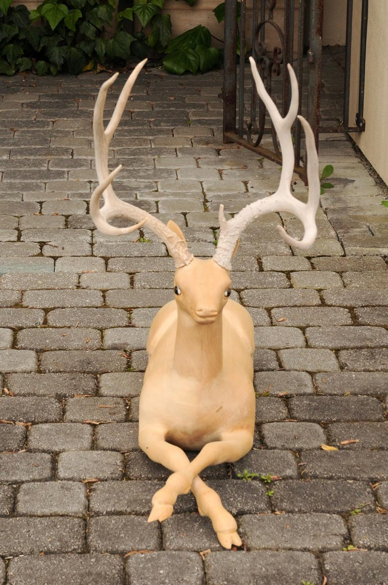 20th Century Pair of Italian Vintage Midcentury Carved Wooden Stag Sculptures with Antlers For Sale
