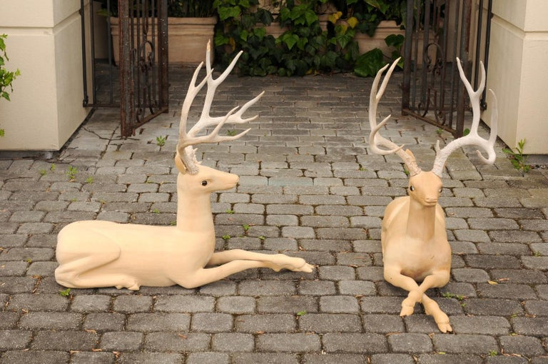 Pair of Italian Vintage Midcentury Carved Wooden Stag Sculptures with Antlers For Sale 1
