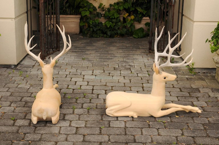 Pair of Italian Vintage Midcentury Carved Wooden Stag Sculptures with Antlers For Sale 2