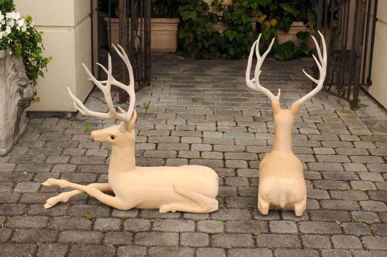 Pair of Italian Vintage Midcentury Carved Wooden Stag Sculptures with Antlers For Sale 3