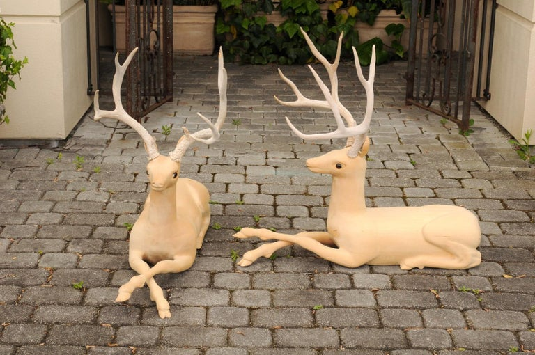 Pair of Italian Vintage Midcentury Carved Wooden Stag Sculptures with Antlers For Sale 4