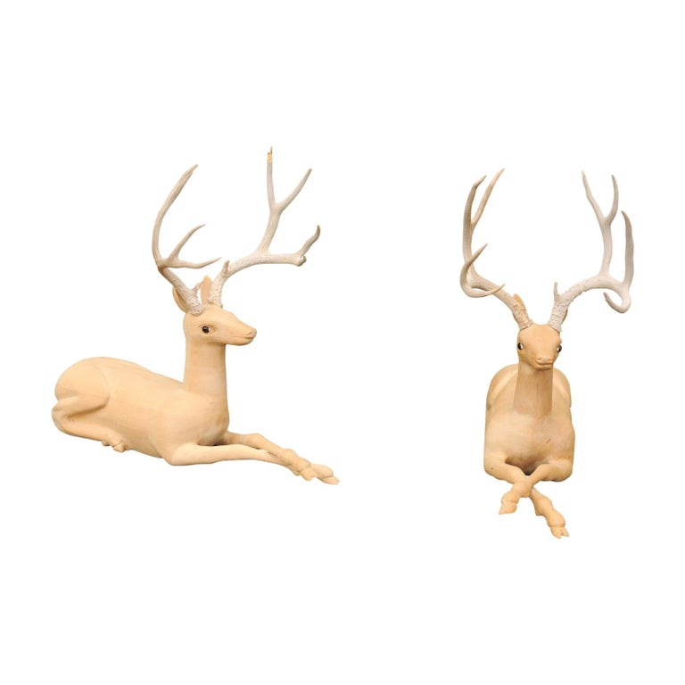 Pair of Italian Vintage Midcentury Carved Wooden Stag Sculptures with Antlers For Sale