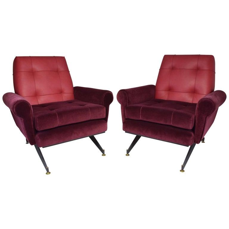 Pair of Italian Vintage Midcentury Velvet Leather Armchairs, 1950s For Sale