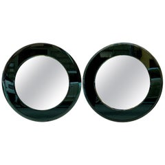 Pair of Italian Vintage Mirrors with Green Glass Frame, 1970s