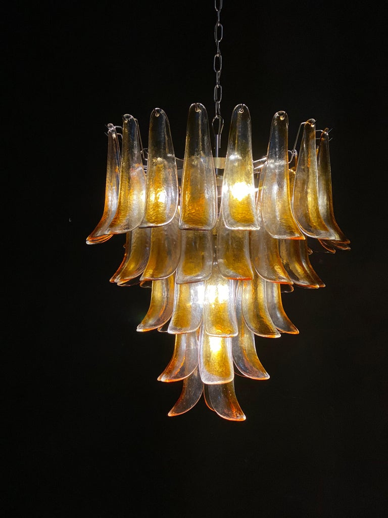 Metal Pair of Italian Vintage Murano Chandelier with Amber Glass Petals, 1970s For Sale