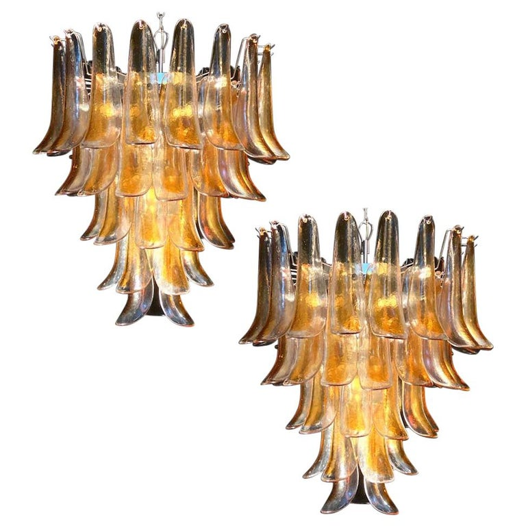 Pair of Italian Vintage Murano Chandelier with Amber Glass Petals, 1970s For Sale