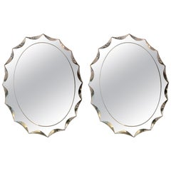 Pair of Italian Vintage Oval Mirrors with Ground Beleved Mirror Frame, 1970s