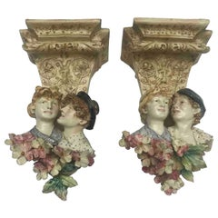 Pair of Italian Wall Brackets with Figures and Flowers Art Nouveau 20th Century