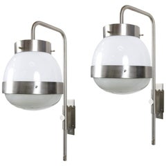 Pair of italian wall lamp Mod. Delta by Sergio Mazza for Artemide. 1960s