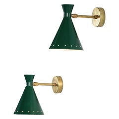 """Pair of Italian Wall Lamps """"Cocotte"""" Green"""