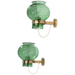 Pair of Italian Wall Lights Green Glass and Brass