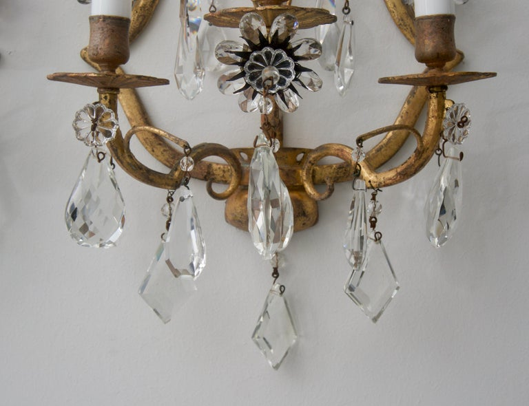 Hollywood Regency Pair of Italian Wall Sconces For Sale