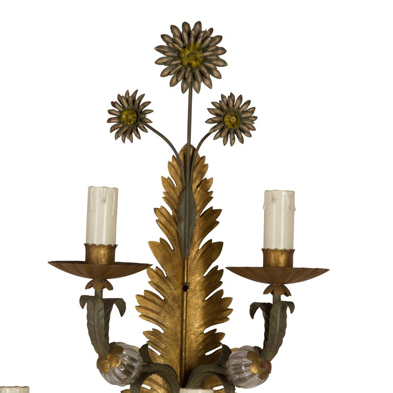 Pair of Italian Wall Sconces In Good Condition For Sale In Gloucestershire, GB