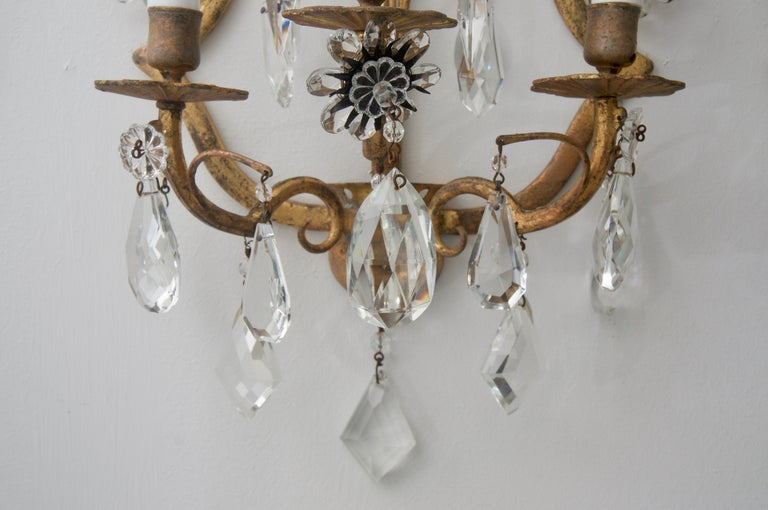 Polished Pair of Italian Wall Sconces For Sale