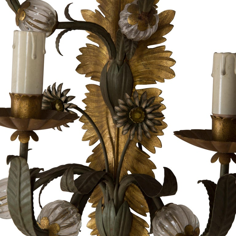 Glass Pair of Italian Wall Sconces For Sale