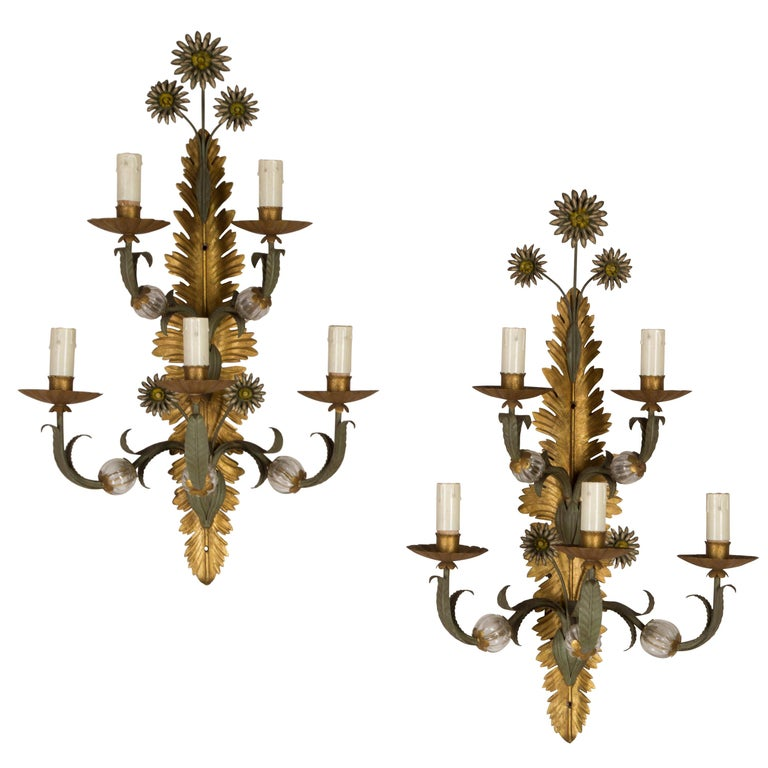 Pair of Italian Wall Sconces For Sale