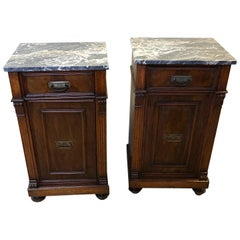 Pair of Italian Walnut Bedside Tables from 1880, Natural Color Portoro Marble