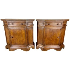 Pair of Italian Walnut Credenzas, circa 1930s
