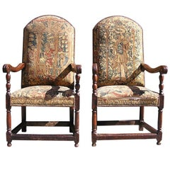 Pair of Italian Walnut Needlepoint Arm Chairs, 18th century