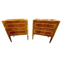 Pair of Italian Walnut Neo-Classical Style Bed Side Tables