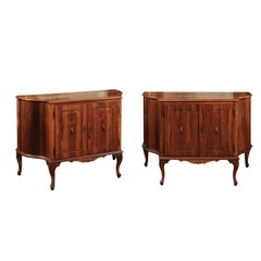 Pair of Italian Walnut Serpentine Cabinets, Early 19th Century
