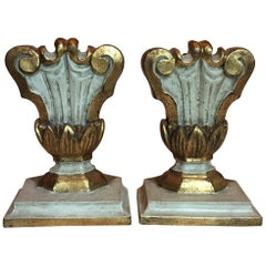 Pair of Italian White and Mecca Giltwood Hand Carved Lamp Bases Verona, 1980