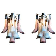 Pair of Italian White and Pink Petal Murano Sconces