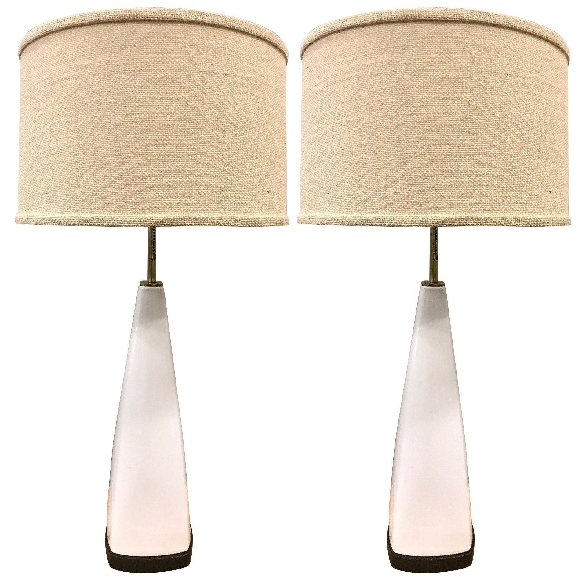 Pair of Italian White Ceramic Lamps