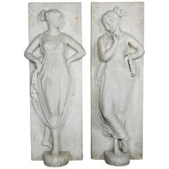 Pair of Italian White Marble Bas Reliefs of Muses