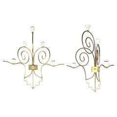 Pair of Italian White Metal & Brass 5-Lights Mid Century Sconces